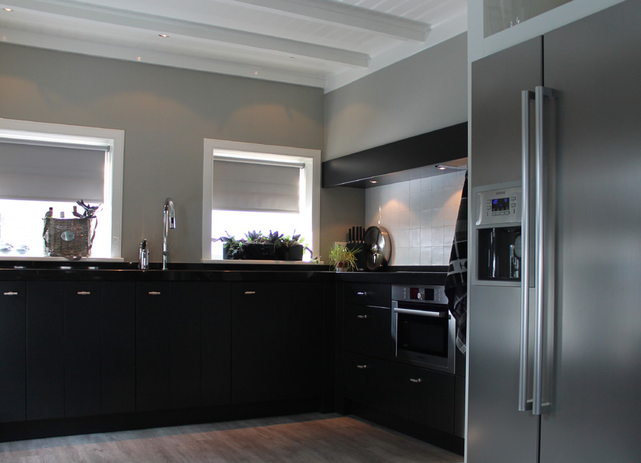 Keuken Zwart Blad : keuken met amerikaanse koelkast stijlvolle keuken in oude